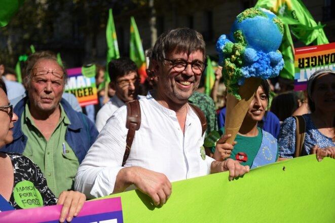 Le député européen EELV et ancien maire de Grande-Synthe Damien Carême, lors d'une manifestation sur le climatle 21 septembre 2019 à Paris. © Lucas BARIOULET / AFP