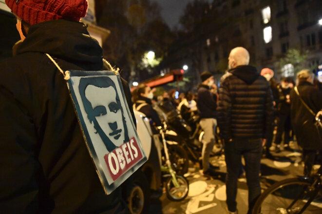 Manifestation contre le projet de loi « sécurité globale » devant l'Assemblée, le 17 novembre. © Julien Mattia/Anadolu Agency via AFP