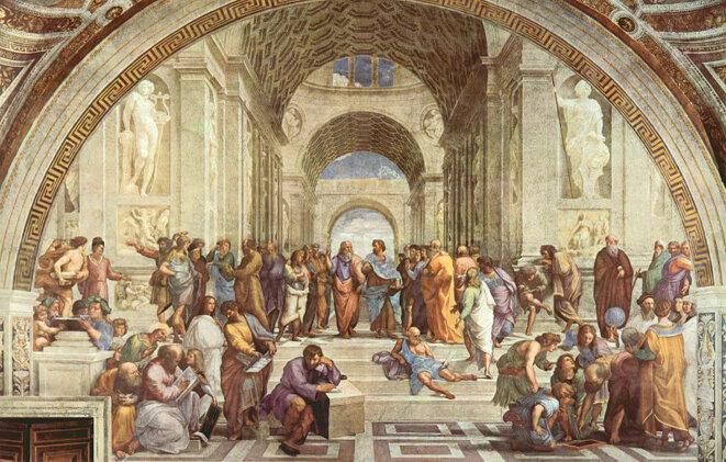 Renaissance européenne: L'Ecole d'Athènes, fresque de Raphaël représentant les savants de l'Antiquité