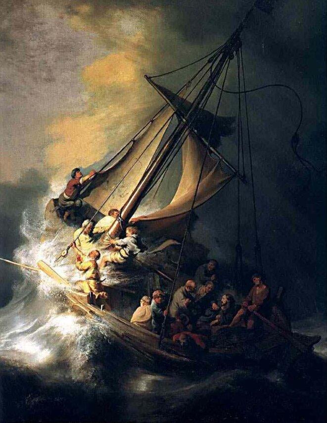 """""""Christ dans la tempête"""" tableau de Rembrandt volé en 1990 au Musée Isabella Stewart Gardner de Boston."""