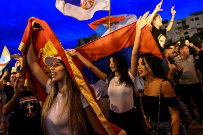 Manifestation des partisans de l'opposition après l'élection de fin août à Podgorica (Monténégro). © Savo Prelevic/AFP