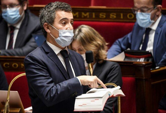 Gérald Darmanin, le ministre de l'intérieur, à l'Assemblée nationale le 20 novembre 2020. © Bertrand Guay / AFP