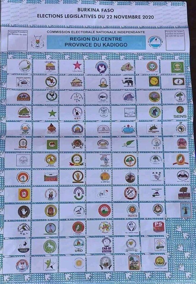 Bulletin de vote du Kadiogo, la région de Ouagadougou © Commissions Natonale indépendante
