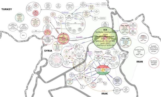 Carte de l'organisation du PKK