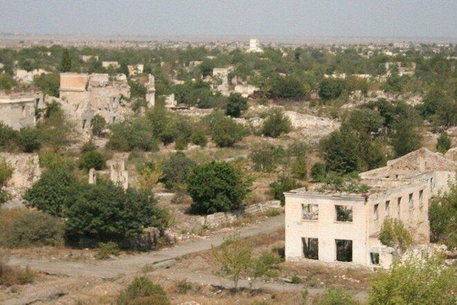agdam une des centaines de citée azerbaïdjanaise ravagée par les séparatistes arméniens en 28 d'occupation illégale.