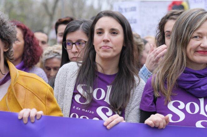 La ministre de l'égalité Irene Montero (Unidas Podemos), lors de la manifestation pour la Journée internationale des femmes, le 8 mars 2020 à Madrid. © Oscar Gonzalez/NurPhoto/AFP