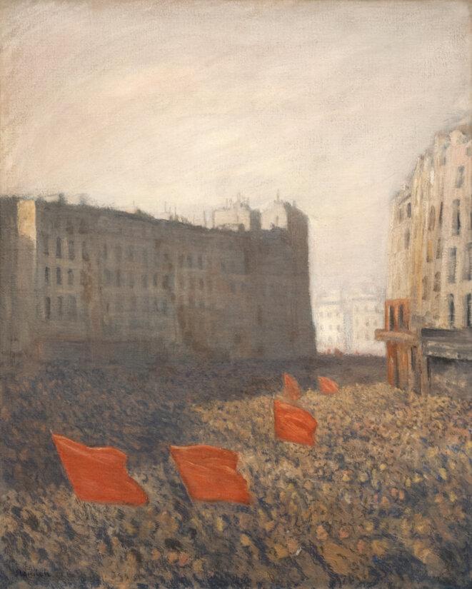 Théophile-Alexandre Steinlen, Manifestation populaire, vers 1903, Huile sur toile. © MUba EugÈne Leroy (dépôt du musée d'Orsay), Tourcoing.