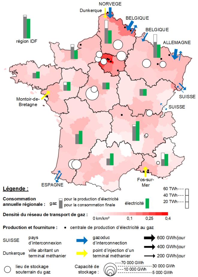 Carte de la fourniture, la consommation et le stockage du gaz naturel en France en 2019 [8] [9] [11]. © Valentin Bouvignies