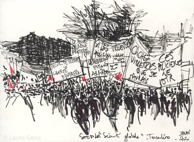 Rassemblement contre la loi «Sécurité globale». Trocadéro, Paris, 21 novembre 2020.