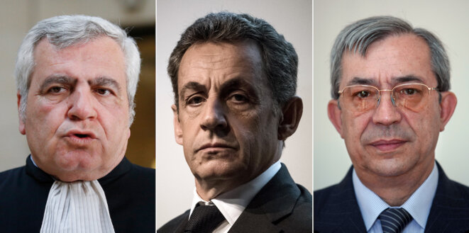 Thierry Herzog, Nicolas Sarkozy et Gilbert Azibert, les prévenus du procès «Bismuth». © Thomas Coex, Philippe Lopez Geoffroy Van Der Hasselt / AFP