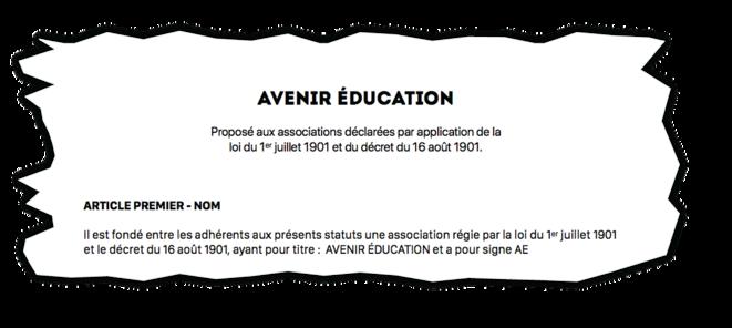 En-tête des statuts d'Avenir Education. © Document Mediapart