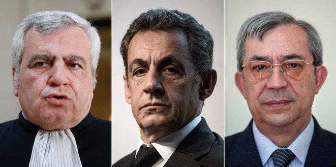 Thierry Herzog, Nicolas Sarkozy et Gilbert Azibert, los acusados del proceso « Bismuth ». © Thomas Coex, Philippe Lopez Geoffroy Van Der Hasselt/AFP
