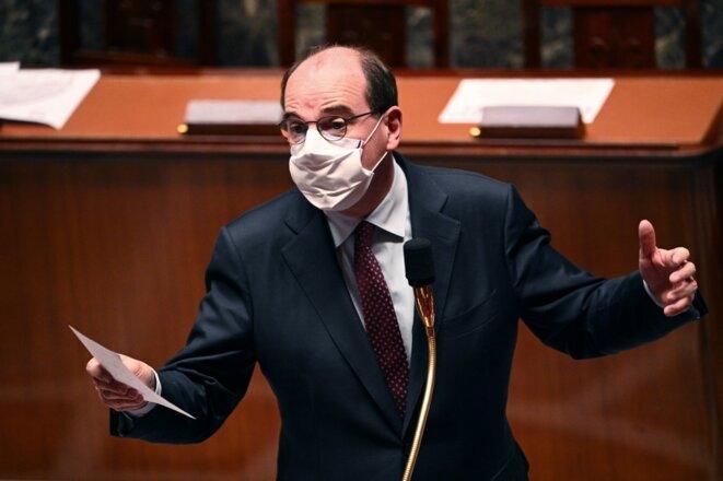 Jean Castex lors des questions au gouvernement, mardi 24 novembre. © Anne-Christine POUJOULAT / AFP