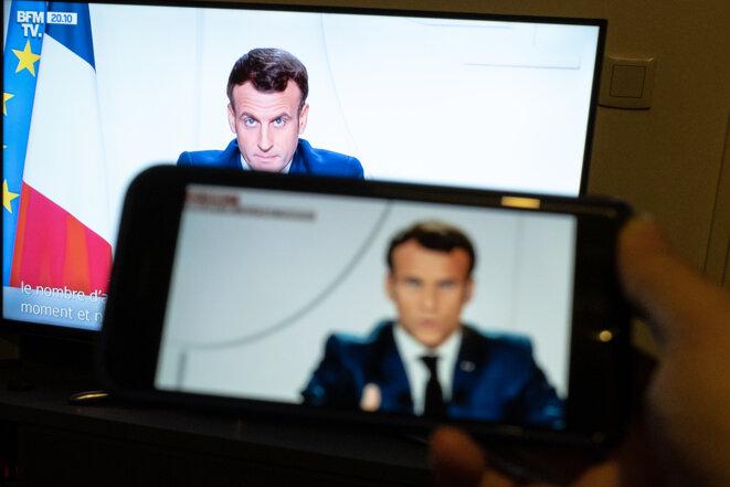 Le discours d'Emmanuel Macron du 24 novembre 2020. © Hermann Click / Hans Lucas via AFP