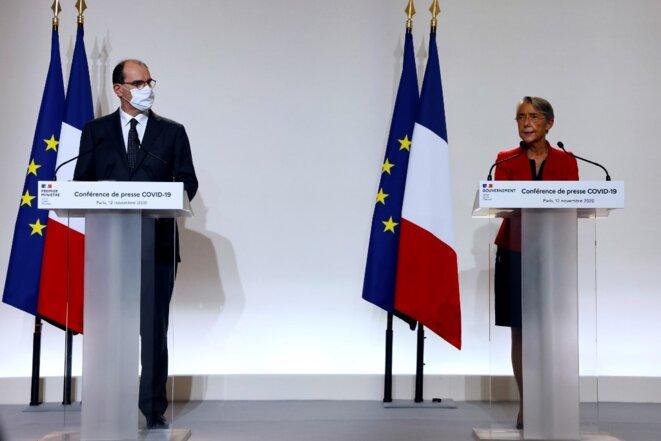 Le premier ministre Jean Castex et la ministre du travail Élisabeth Borne, le 12 novembre 2020. © Ludovic Marin / AFP