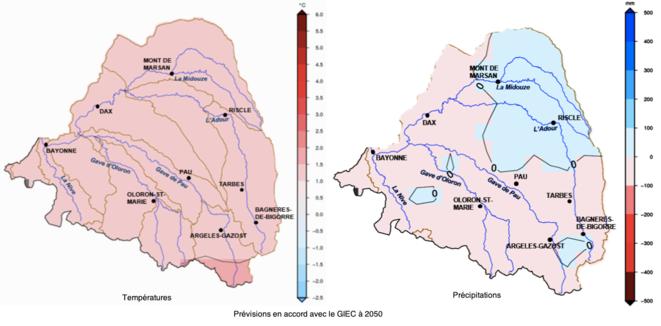 Températures et précipitations à 2050 © Institution Adour