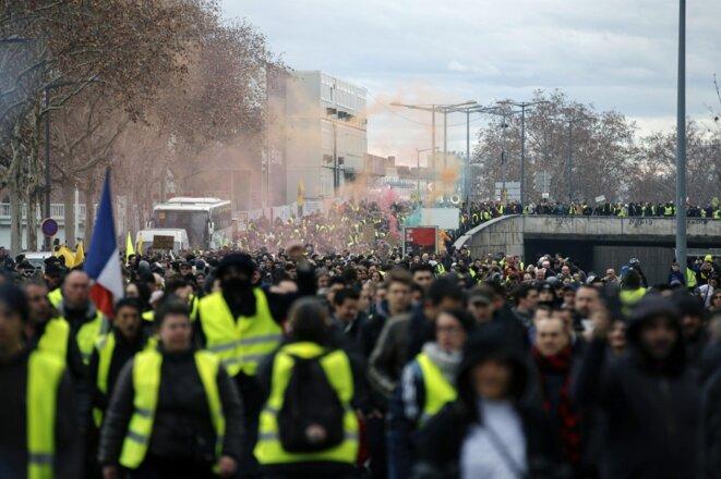 La manifestation des gilets jaunes, à Lyon, le 9 février 2019. © Alex Martin / AFP