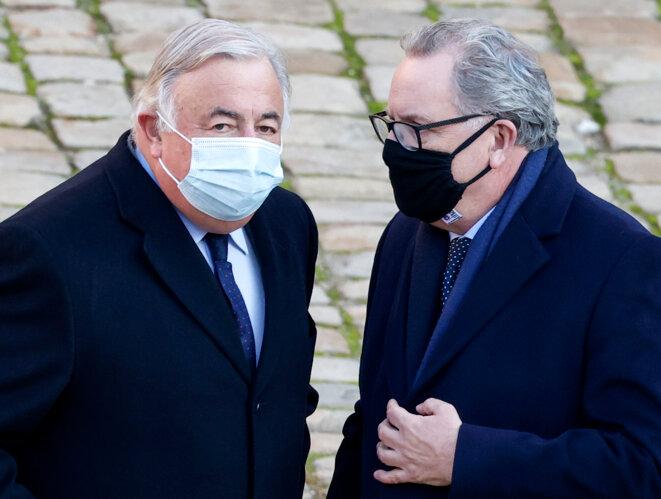 Gérard Larcher et Richard Ferrand, le 26 novembre. © Ludovic Marin/AFP