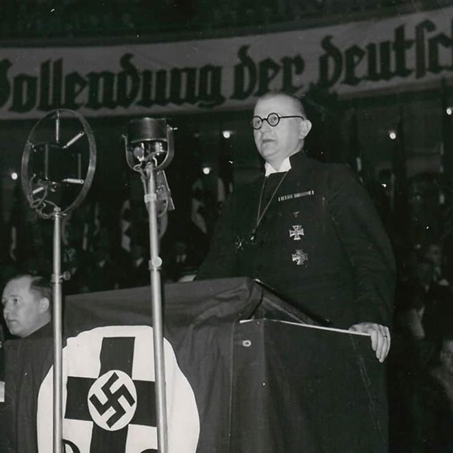 Ludwig Müller, pictured here giving a speech at a Nazi event, was the leader of the Reich Church. The Reich Church was founded by the Nazis with the support of 'German Christians', protestant supporters of the Nazi Party who had been hostile to the Weimar Republic. © Courtesy of The Wiener Holocaust Library Collections