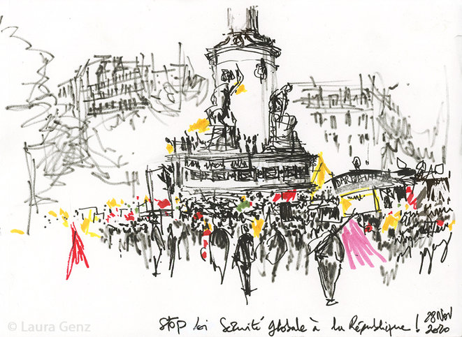 Stop Loi Sécurité Globale à la République! Place de la République, Paris, 28 novembre 2020.