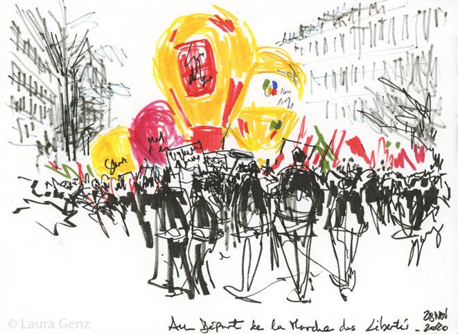 Au Départ de la Marche des Libertés. Boulevard du Temple, Paris, 28 novembre 2020.