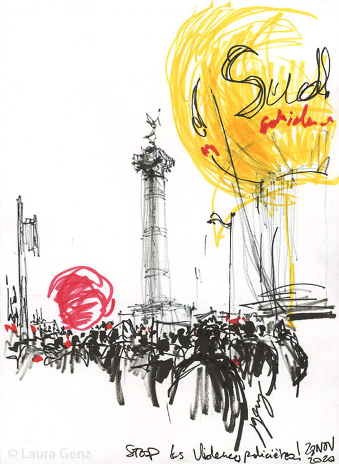Stop les Violences policières! Place de la Bastille, Paris, 28 novembre 2020.