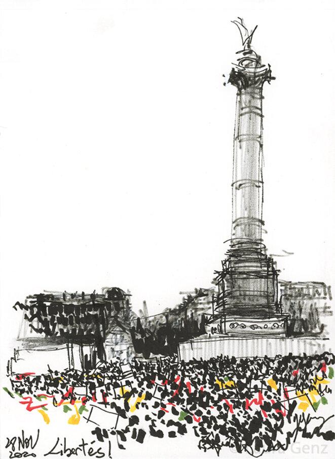 Libertés! Place de la Bastille, Paris, 28 novembre 2020.