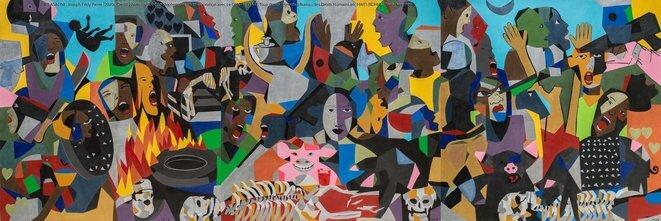 'KLASALINE' © toile de Joseph Eddy Pierre réalisée pour le Bureau des Droits Humains en Haïti, photographie de Roberto Stephenson