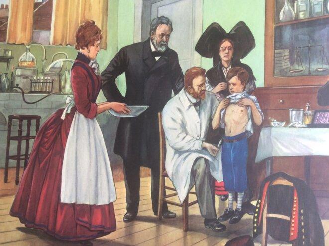Pasteur vaccinant contre la rage © Fernand Nathan ou Vidal Lablache ?