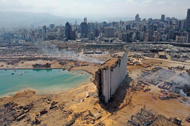 Le port de Beyrouth entièrement rasé par l'explosion © AFP