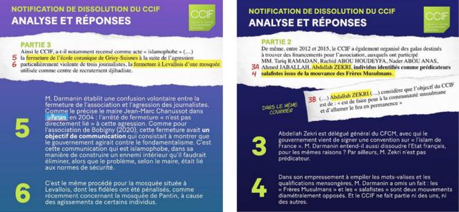 Réponses du CCIF au projet de dissolution, sur son site internet. © Captures d'écran