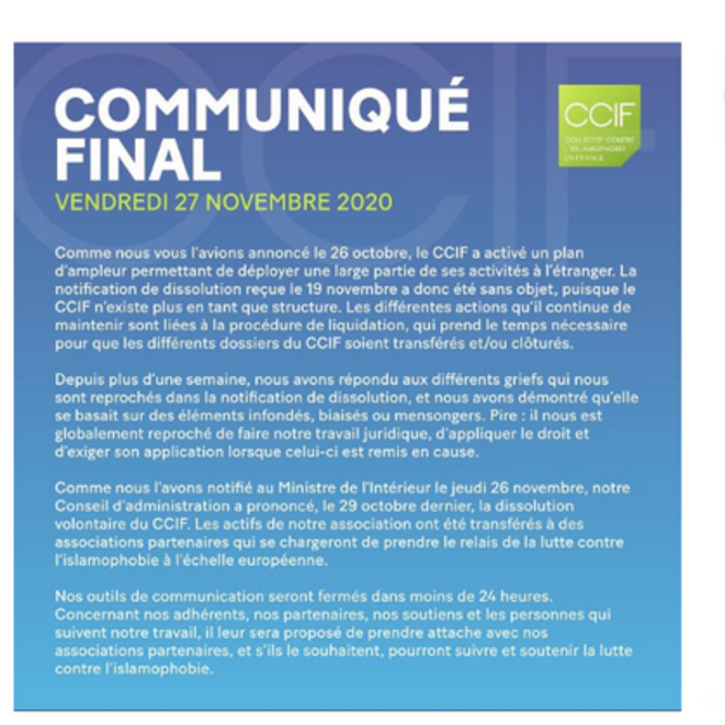 « Communiqué final » du CCIF, 27 novembre. © Capture d'écran