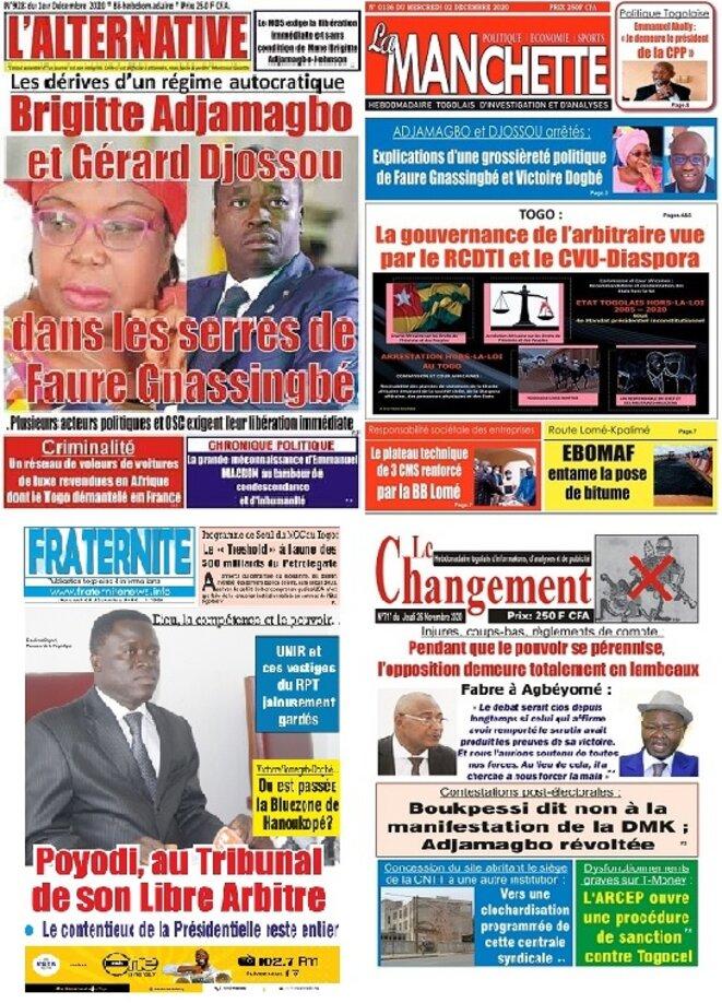 Les arrestations de Mme Adjamagbo et de M. Djossou font la une de la presse togolaise