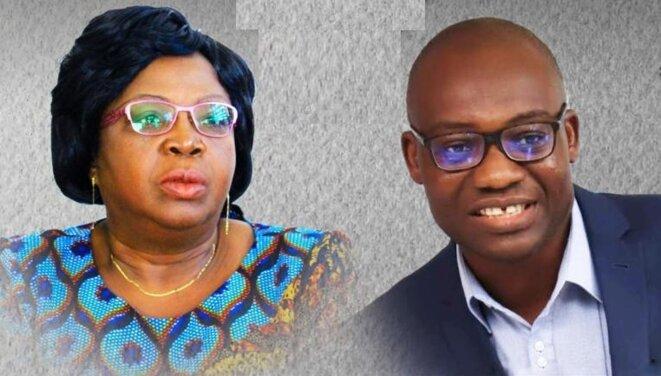 Mme Brigitte Adjamagbo-Johnson, coordinatrice de DMK et M. Gérard Dodji Djossou, président de la Commission des affaires sociales en charge des droits de l'Homme au sein de la DMK