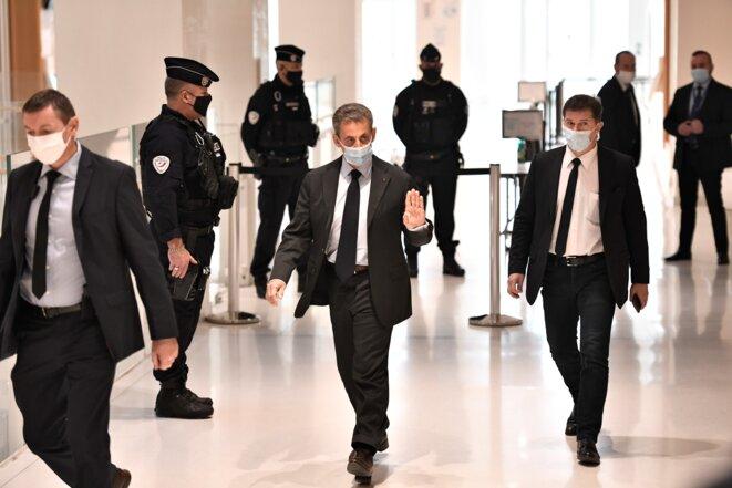 Nicolas Sarkozy at the court building in Paris for his trial, November 30th 2020. © Stéphane de Sakutin/AFP