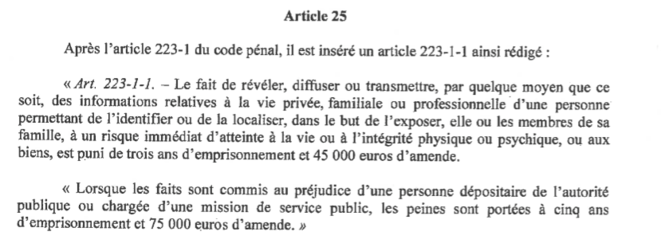 Article 25 de l'avant-projet de loi « confortant les principes républicains ». © Capture d'écran