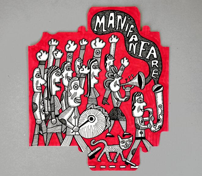 dessin-emballage-manif-fanfare-1