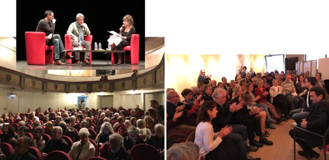 En novembre 2017, Éric Vuillard, qui vient tout juste de recevoir le prix Goncourt, répond aux questions de Pascal Pradon et Marielle Dy devant une salle bondée du théâtre à l'italienne de la ville d'Auch. Et Edwy Plenel, invité le 5 avril 2018, à la librairie devant 80 personnes (avant de rejoindre une salle du cinéma où les libraires organisent, en collaboration avec Ciné 32, un débat avec le directeur de Mediapart, devant plus de 200 personnes). [Photos YF]
