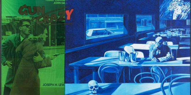 """Jacques Monory, Couleur n°1, 2002, huile sur toile, affiche de cinéma """"Gun Crazy de J. H. Lewis"""" et plexiglas, 162 x 302 cm, collection particulière © Jacques Monory"""