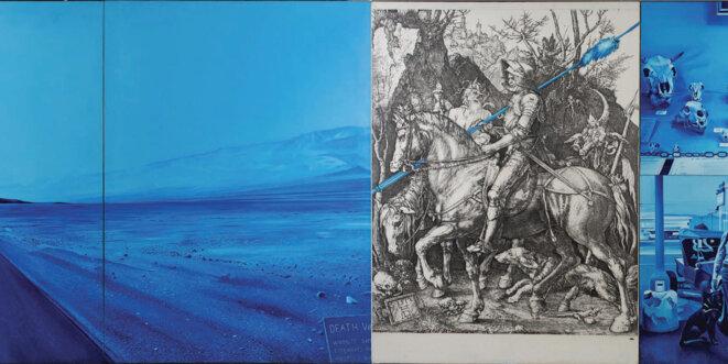 """Jacques Monory, Death Valley n°1, 1974, huile sur toile, (gravure """"Le chevalier et la mort"""" d'Albrecht Dürer), 170 x 490 cm, collection Sylvie Baltazart-Eon © Photo : Augustin de Valence"""