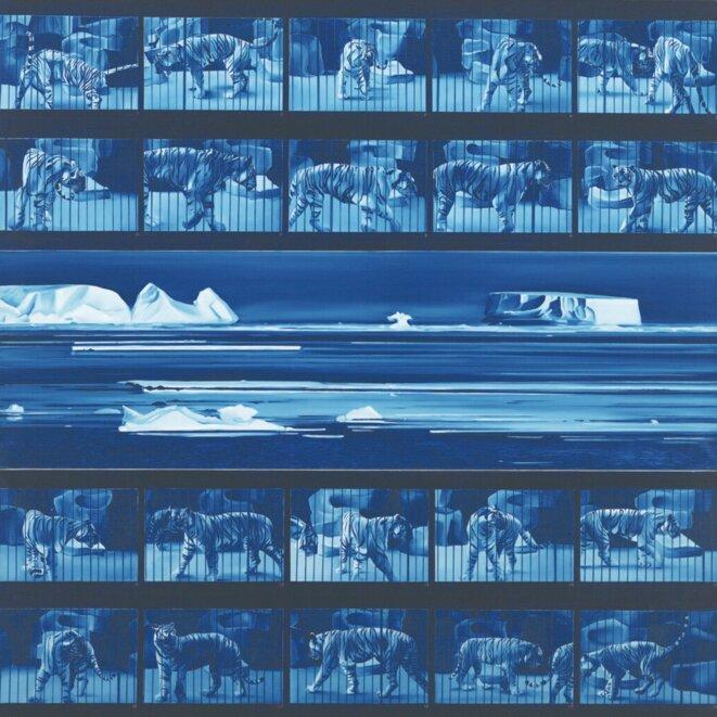 Jacques Monory, Dream tiger n°4, 1972, huile sur toile, 200 x 195 cm, Dont de la société des amis de la Fondation Maeght, 2009, Collection Fondation Maeght, Saint-Paul-de-Vence © Claude Germain - Archives Fondation Maeght