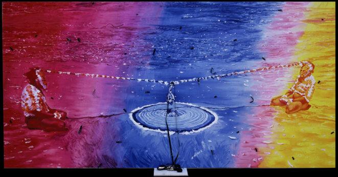 Jacques Monory, Fragile n°9, 1985, huile sur toile, pellicule de film et objets, 170 x 340 cm, collection particulière © Jacques Monory