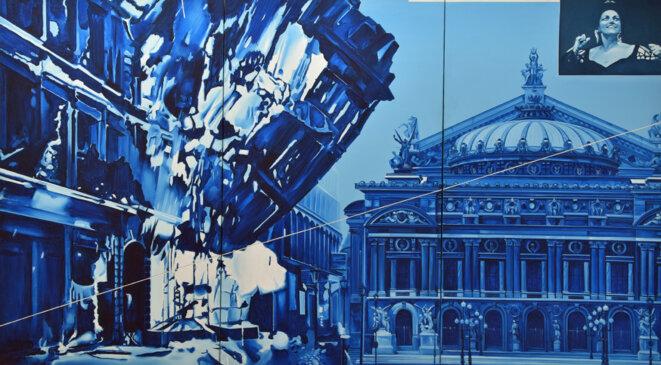 Jacques Monory, Opéra glacé n° 8. Opéra Furia A, 1975, huile sur toile; 195 x 342 cm, collection Sylvie Baltazart-Eon © Photo : Augustin de Valence