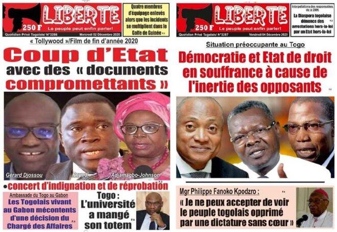Unes du quotidien Liberté des 2 et 4 décembre 2020