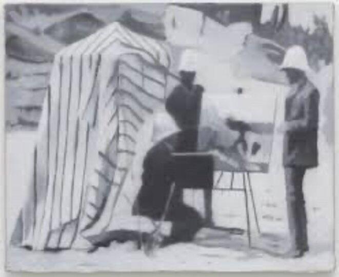 """Scène tiré du film """"La zerda ou le chant de l'oubli"""". Peinture à l'huile. Johannes Sivertsen"""