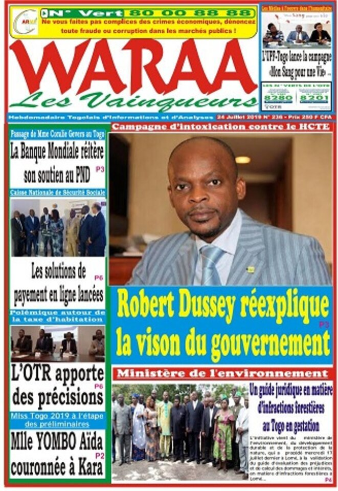HCTE, Une du journal Waraa du 24 juillet 2019, Campagne d'intoxication contre le HCTE, Robert Dussey réexplique la vision du gouvernement
