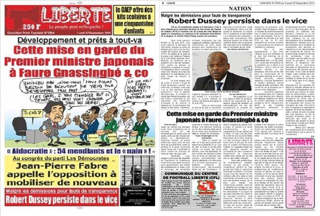 HCTE, Une et article du Journal Liberté du 2 septembre 2019: Malgré les démissions pour faute de transparence, Rober Dussey persiste dans le vice