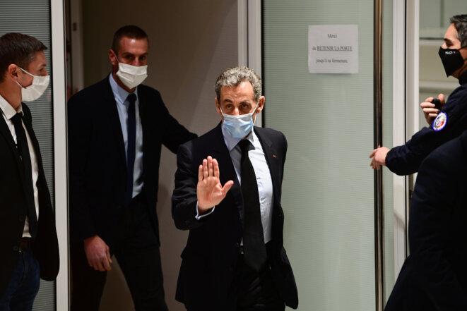 Nicolas Sarkozy au tribunal judiciaire de Paris, le 8 décembre. © Martin Bureau/AFP