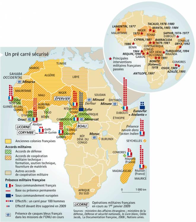 Les accords militaires Franco-africains et les interventions militaires françaises, un aspect essentiel de la françafrique