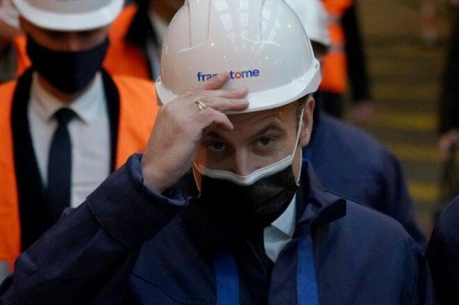 Emmanuel Macron à l'usine Framatome au Creusot (Saône-et-Loire), le 8 décembre. © Laurent Cipriani  / AFP